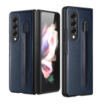 For Samsung Galaxy Z Fold3 5G Litchi Pattern Foldable Protective Case with Pen Slot(Blue)