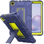 For Samsung Galaxy Tab A 8.4 T307 C5 Four Corners Shockproof Silicone + PC Protective Case with Holder(Navy Blue + Lemon Yellow)