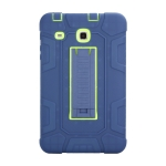 For Samsung Galaxy Tab E 8.0 T377 C5 Four Corners Shockproof Silicone + PC Protective Case with Holder(Navy Blue + Lemon Yellow)