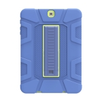 For Samsung Galaxy Tab S2 9.7 T810 C5 Four Corners Shockproof Silicone + PC Protective Case with Holder(Navy Blue + Lemon Yellow)