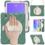Silicone + PC Protective Case with Holder & Shoulder Strap For iPad mini 6(Emerald Green)