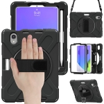 Silicone + PC Protective Case with Holder & Shoulder Strap For iPad mini 6(Black)