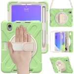 Silicone + PC Protective Case with Holder & Shoulder Strap For iPad mini 6(Matcha Green)