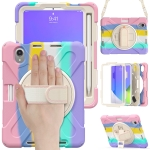 Silicone + PC Protective Case with Holder & Shoulder Strap For iPad mini 6(Colorful Pink)
