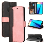 For Infinix Note 7 Business Stitching-Color Horizontal Flip PU Leather Case with Holder & Card Slots & Photo Frame(Pink)