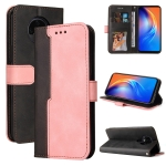 For Tecno Spark 6 Business Stitching-Color Horizontal Flip PU Leather Case with Holder & Card Slots & Photo Frame(Pink)