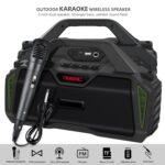 New Rixing NR-6011M Bluetooth 5.0 Portable Outdoor Karaoke Wireless Bluetooth Speaker with Microphone & Shoulder Strap(Green)