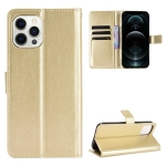 Crazy Horse Texture Horizontal Flip Leather Case with Holder & Card Slots & Lanyard For iPhone 13 Pro(Gold)