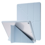 Deformation Transparent Acrylic Horizontal Flip PU Leather Case with Multi-folding Holder & Sleep / Wake-up Function & Pen Slot For iPad 10.2 2021 / 2020 / 2019(Baby Blue)