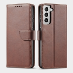 For Samsung Galaxy S21 FE 5G Calf Texture Buckle Horizontal Flip Leather Case with Holder & Card Slots & Wallet(Brown)