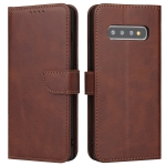 For Samsung Galaxy S10+ Calf Texture Buckle Horizontal Flip Leather Case with Holder & Card Slots & Wallet(Brown)