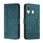 For Samsung Galaxy A20 / A30 Retro Skin Feel Horizontal Flip Soft TPU + PU Leather Case with Holder & Card Slots & Photo Frame(Army Green)