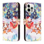 Silk Texture Christmas Painted Pattern Horizontal Flip Leather Case with Holder & Card Slots & Wallet & Photo Frame For iPhone 12 Pro Max(Gifts Santa Claus)