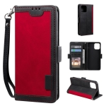 Retro Splicing Horizontal Flip Leather Case with Card Slots & Holder & Wallet For iPhone 13 Pro(Red)