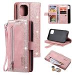 Nine Card Zipper Bag Horizontal Flip Leather Case With Holder & Card Slots & Photo Frame & Wallet For iPhone 13 Pro(Pink)
