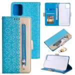 Lace Pattern Double Button Zipper Horizontal Flip Leather Case with Holder & Card Slots & Wallet For iPhone 13 Pro Max(Blue)