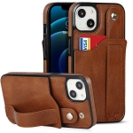 Crazy Horse Texture Shockproof TPU + PU Leather Case with Card Slot & Wrist Strap Holder For iPhone 13(Brown)