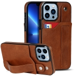 Crazy Horse Texture Shockproof TPU + PU Leather Case with Card Slot & Wrist Strap Holder For iPhone 13 Pro(Brown)