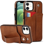 Crazy Horse Texture Shockproof TPU + PU Leather Case with Card Slot & Wrist Strap Holder For iPhone 12 mini(Brown)