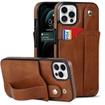 Crazy Horse Texture Shockproof TPU + PU Leather Case with Card Slot & Wrist Strap Holder For iPhone 12 / 12 Pro(Brown)