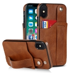 Crazy Horse Texture Shockproof TPU + PU Leather Case with Card Slot & Wrist Strap Holder For iPhone XS Max(Brown)