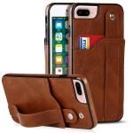 Crazy Horse Texture Shockproof TPU + PU Leather Case with Card Slot & Wrist Strap Holder For iPhone 7 Plus / 8 Plus(Brown)