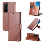 For vivo X70 Pro AZNS Sheepskin Texture Horizontal Flip Leather Case with Holder & Card Slots & Wallet(Brown)