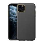 Electroplating Leather Texture PC + TPU Shockproof Case For iPhone 11 Pro(Black)