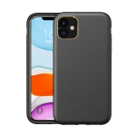 Electroplating Leather Texture PC + TPU Shockproof Case For iPhone 11(Black)