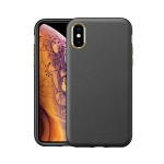 Electroplating Leather Texture PC + TPU Shockproof Case For iPhone XS Max(Black)