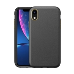 Electroplating Leather Texture PC + TPU Shockproof Case For iPhone XR(Black)