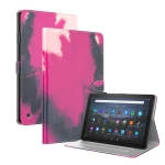 For Amazon Fire HD 8 2020 Watercolor Pattern Skin Feel Magnetic Horizontal Flip PU Leather Case with Holder & Card Slots & Photo Frame & Sleep / Wake-up Function(Berry)