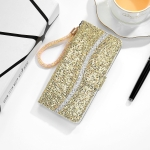 For Xiaomi Redmi Note 10 5G Glitter Powder Horizontal Flip Leather Case with Card Slots & Holder & Lanyard(Gold)