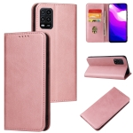 For Xiaomi Mi 10 Lite Calf Texture Magnetic Horizontal Flip Leather Case with Holder & Card Slots & Wallet(Rose Gold)