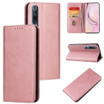 For Xiaomi Mi 10 Pro Calf Texture Magnetic Horizontal Flip Leather Case with Holder & Card Slots & Wallet(Rose Gold)