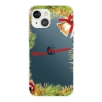 Christmas Series Transparent TPU Protective Case For iPhone 13(Wheatgrass Bell)