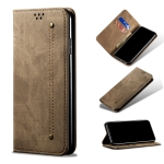 For Xiaomi 11T Pro Denim Texture Casual Style Horizontal Flip Leather Case with Holder & Card Slots & Wallet(Khaki)
