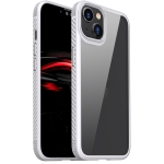 MG Series Carbon Fiber TPU + Clear PC Four-corner Airbag Shockproof Case For iPhone 13(White)