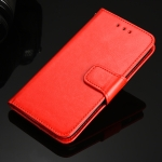 For Samsung Galaxy S21 FE 5G Crystal Texture Horizontal Flip Leather Case with Holder & Card Slots & Wallet(Red)