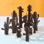 12 in 1 Miniature Beach Paper Cut Cactus Sandy Beach Landscape Decoration Photography Props(Brown)