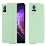 For vivo V21 Solid Color Liquid Silicone Shockproof Full Coverage Protective Case(Green)