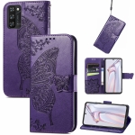 For Blackview A100 Butterfly Love Flower Embossed Horizontal Flip Leather Case with Holder & Card Slots & Wallet & Lanyard(Dark Purple)