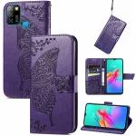For infinix Smart 5 Butterfly Love Flower Embossed Horizontal Flip Leather Case with Holder & Card Slots & Wallet & Lanyard(Dark Purple)