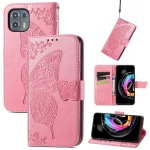 For Motorola Moto Edge 20 Lite Butterfly Love Flower Embossed Horizontal Flip Leather Case with Holder & Card Slots & Wallet & Lanyard(Pink)
