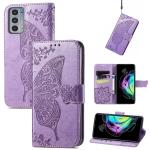 For Motorola Moto Edge 20 Butterfly Love Flower Embossed Horizontal Flip Leather Case with Holder & Card Slots & Wallet & Lanyard(Light Purple)
