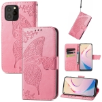 For Oukitel C21 Pro Butterfly Love Flower Embossed Horizontal Flip Leather Case with Holder & Card Slots & Wallet & Lanyard(Pink)