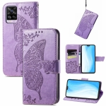 For vivo S7 Butterfly Love Flower Embossed Horizontal Flip Leather Case with Holder & Card Slots & Wallet & Lanyard(Light Purple)