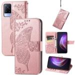 For vivo V21 Butterfly Love Flower Embossed Horizontal Flip Leather Case with Holder & Card Slots & Wallet & Lanyard(Rose Gold)