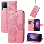 For vivo V21 Butterfly Love Flower Embossed Horizontal Flip Leather Case with Holder & Card Slots & Wallet & Lanyard(Pink)