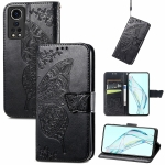 For ZTE Axon 30 5G Butterfly Love Flower Embossed Horizontal Flip Leather Case with Holder & Card Slots & Wallet & Lanyard(Black)